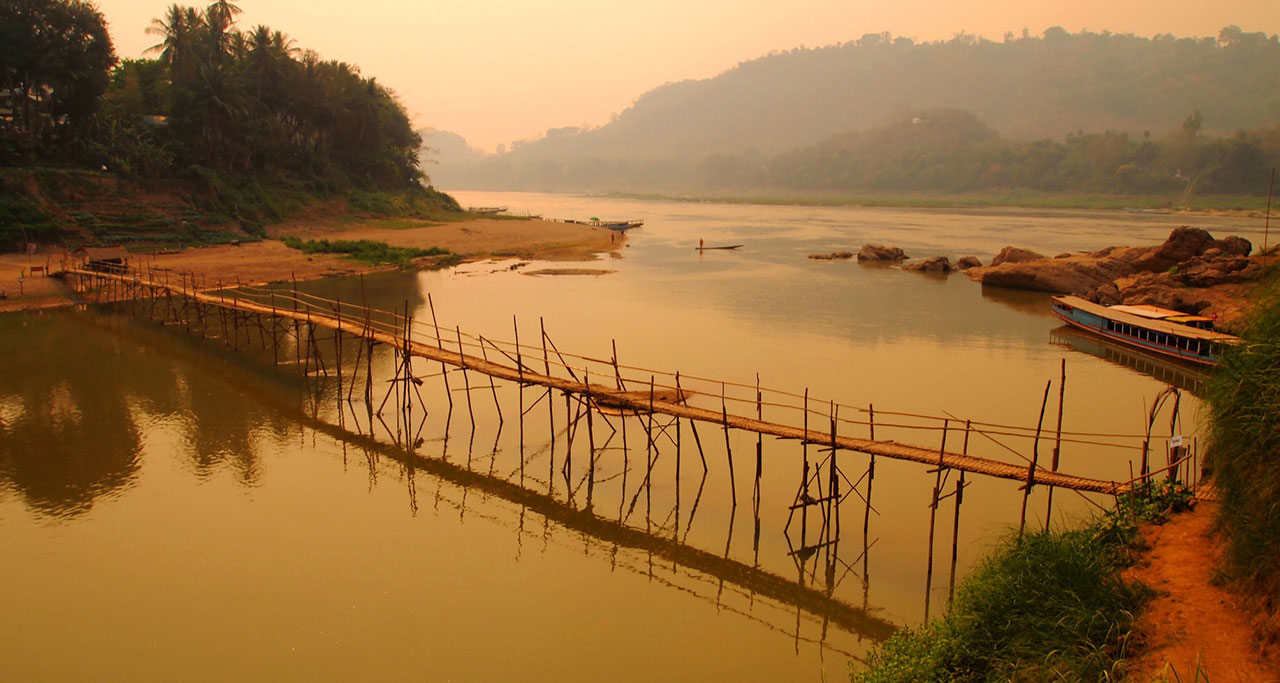 Bamboo Bridge luang prabang Laos Travel