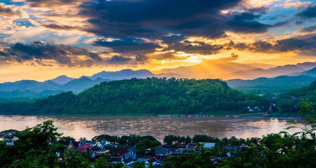 Phousi Mountain sunset in luang prabang Laos Travel