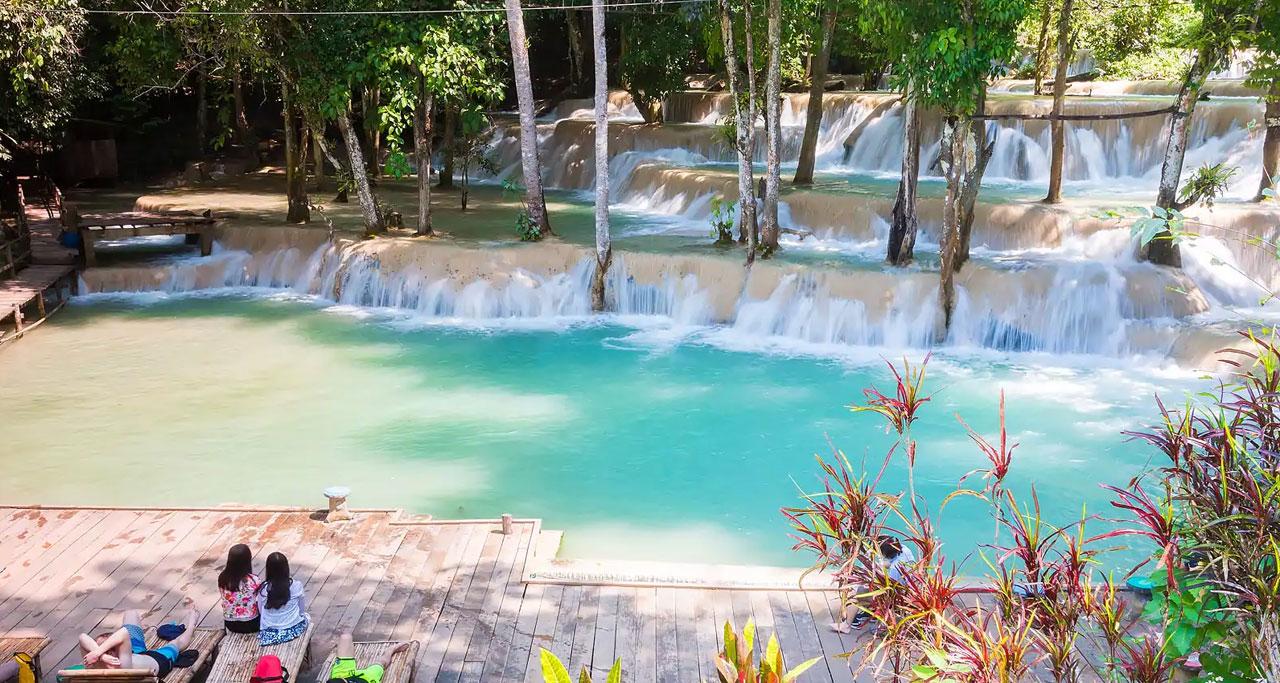 Tad Sae Waterfall in laos Laos Travel
