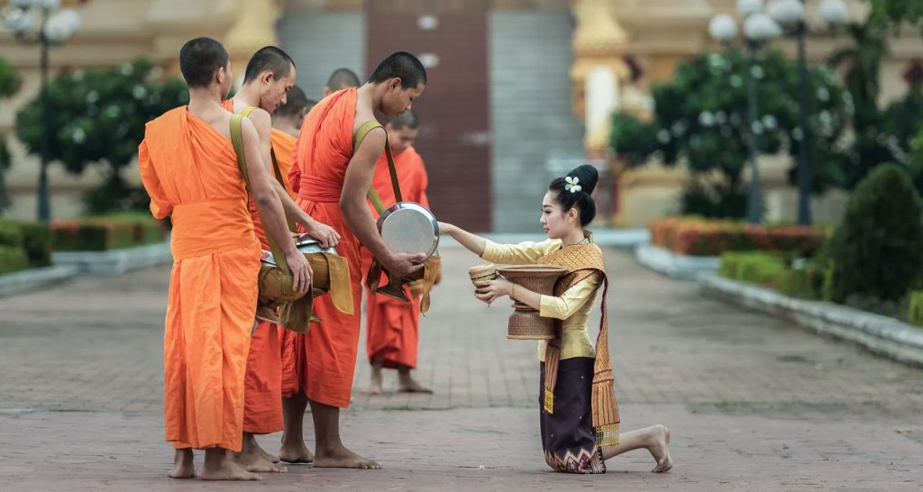 Witness Alms Giving ceremony in early morning Laos Travel
