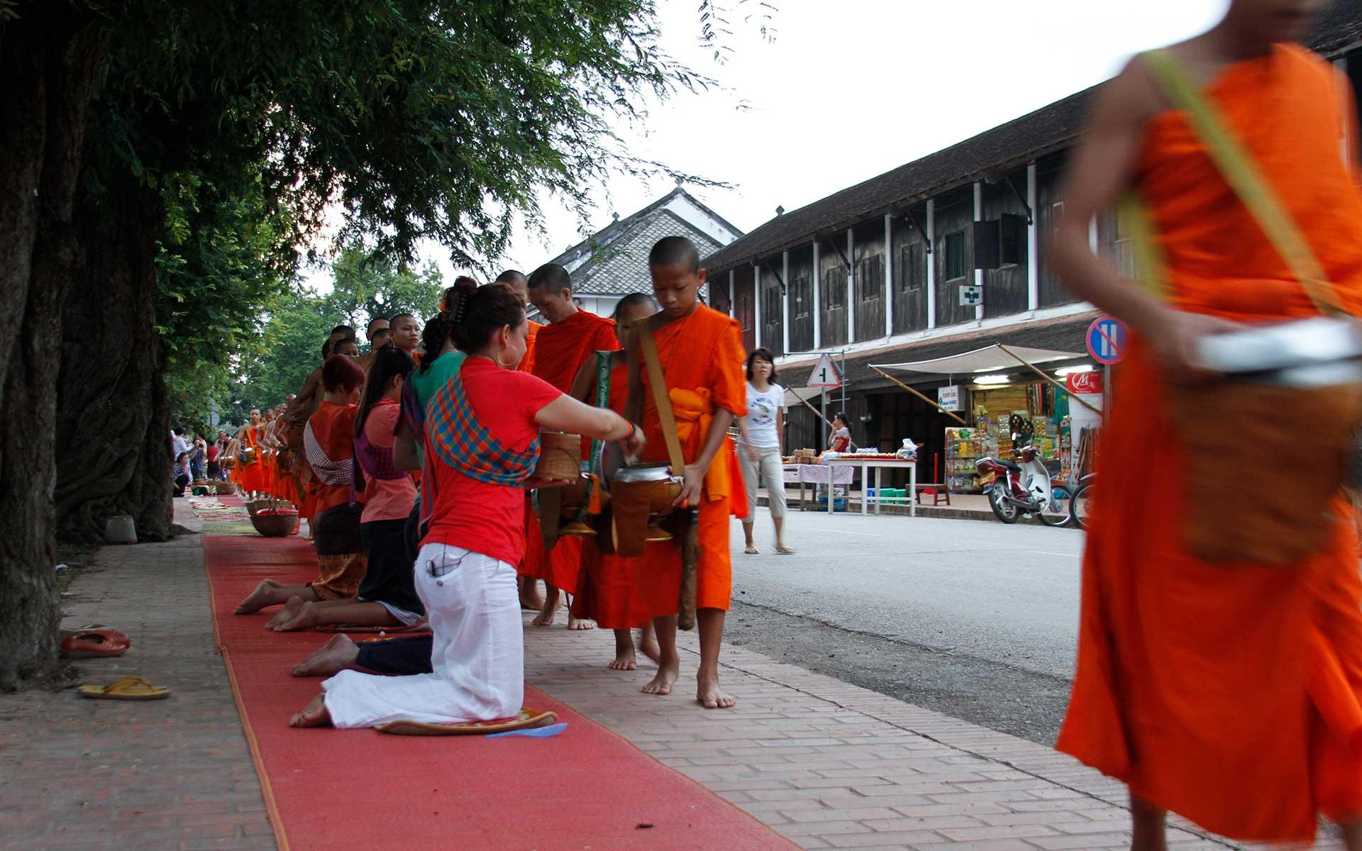 Alms giving ceremony laos