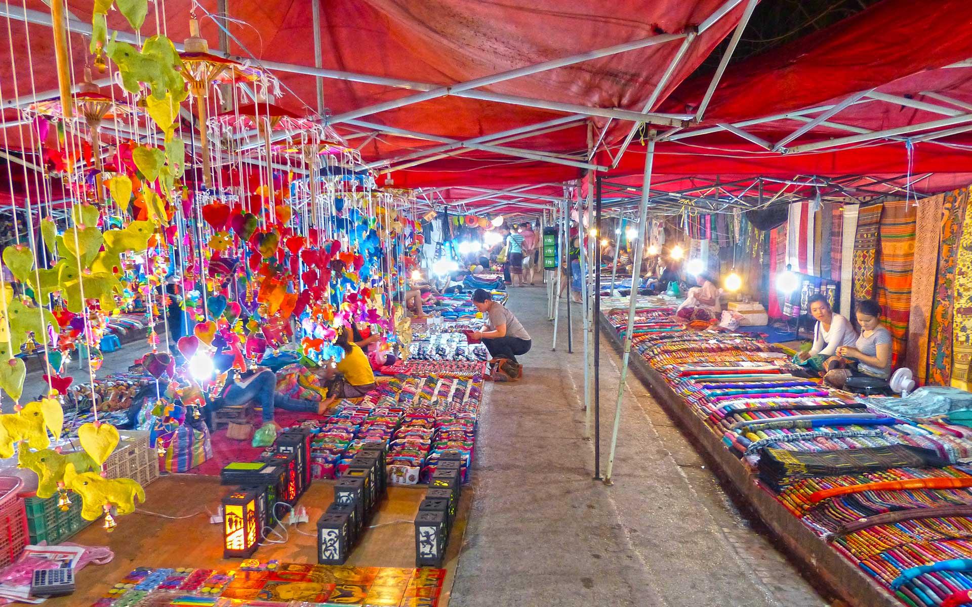 night market in luang prabang laos
