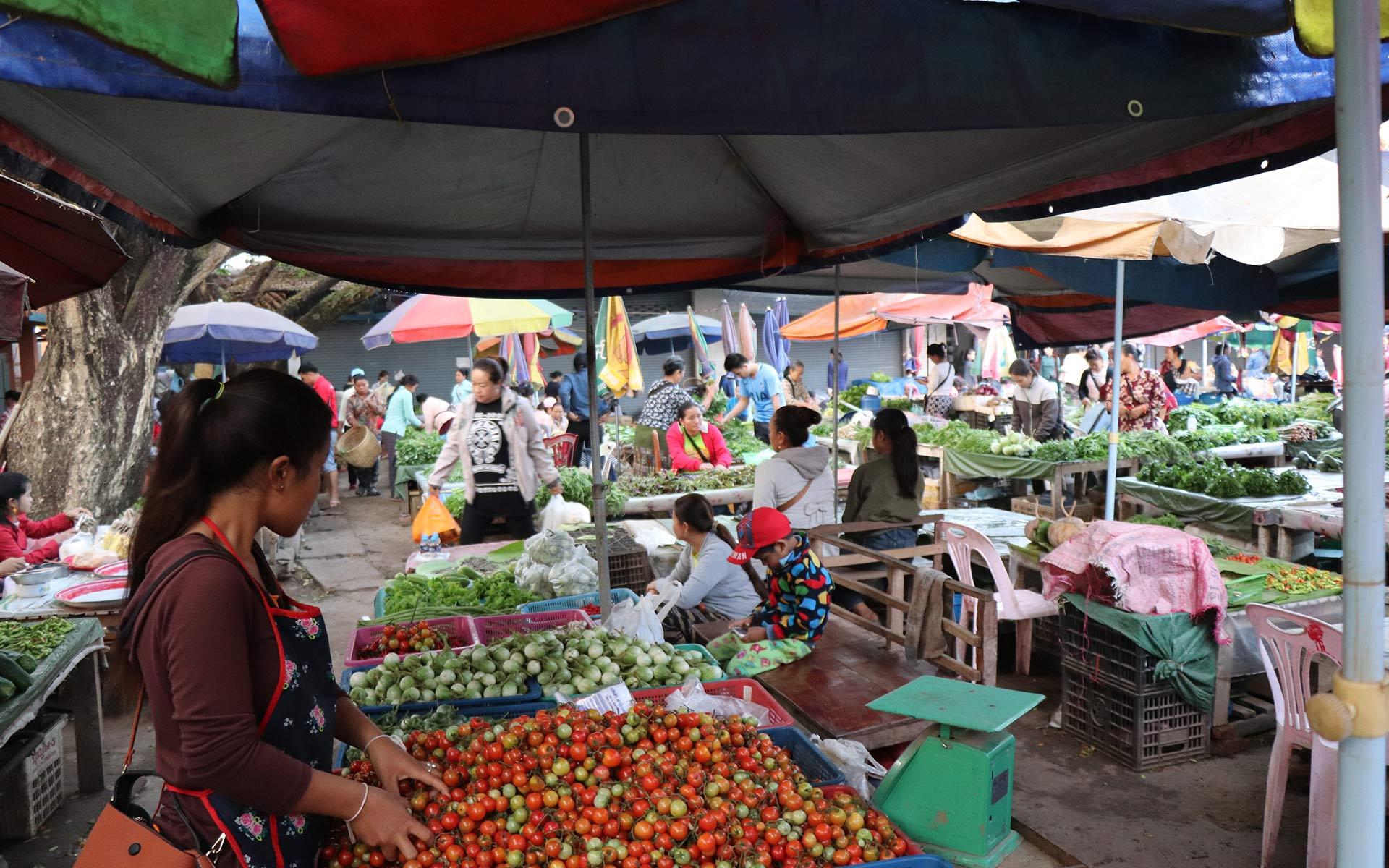 Morning Market in luang namtha laos