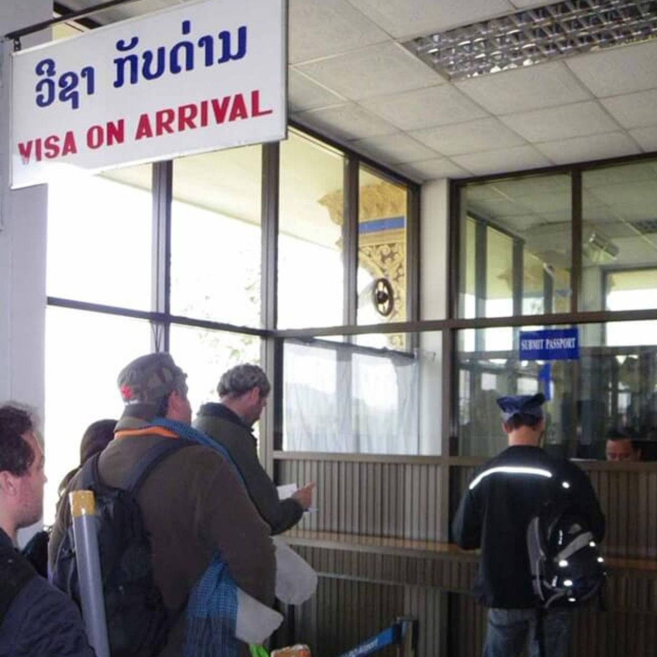 Visa on arrival counter at Luang Prabang International Airport