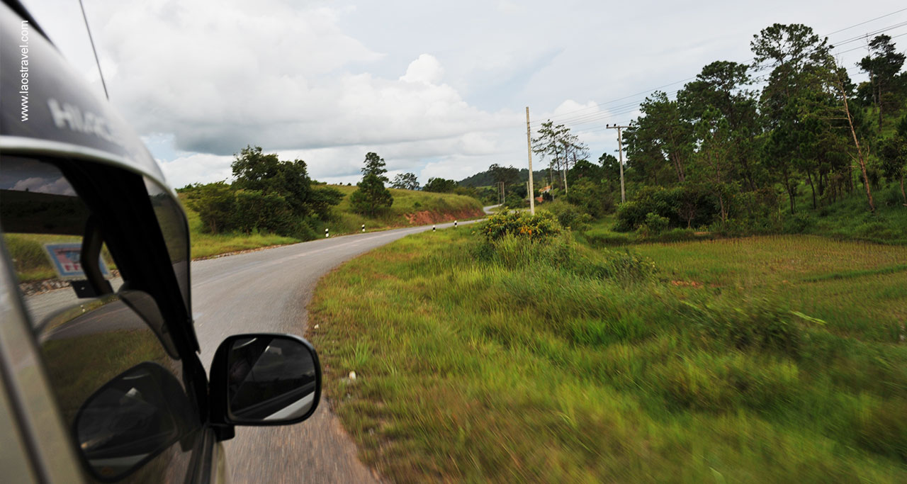 Paved roads in Laos